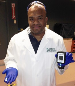 Suresh Neethirajan, Ph.D., P.Eng. University of Guelph with the GryphSens device